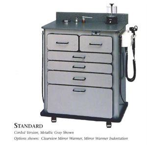 Alucobond Standard Treatment Cabinet, Metal Gray w / Charcoal Surface, Rechargeable WA Otoscopes